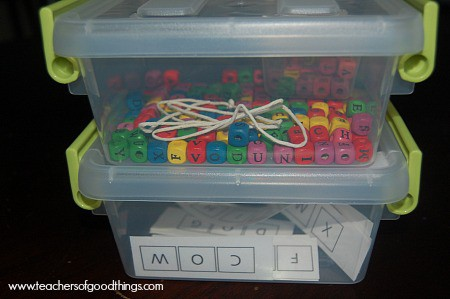 Alphabet beads learning box (with free printables) www.joyinthehome.com