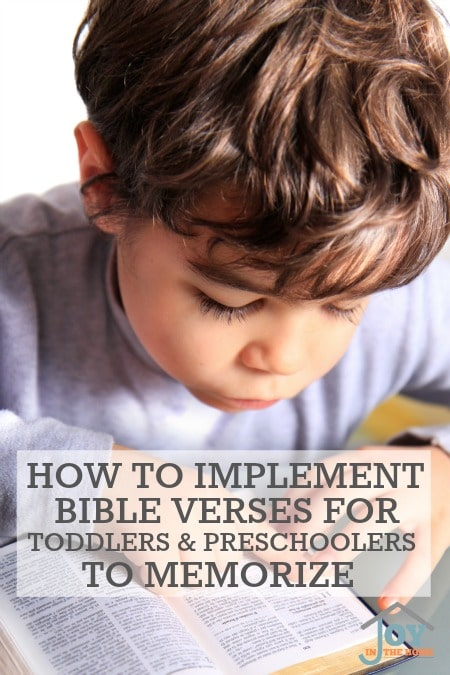 How to Implement Bible Verses for Toddlers & Preschoolers to Memorize | www.joyinthehome.com
