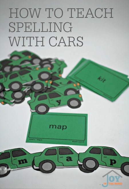How to Teach Spelling with Cars - This hands-on learning box is perfect for children learning their alphabet or those working on the skill of spelling. | www.joyinthehome.com