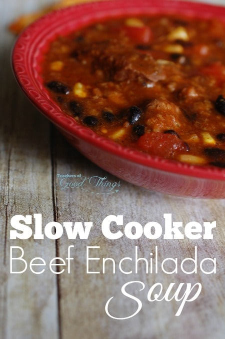 Slow Cooker Beef Enchilada Soup - Easy to make and delicious | www.joyinthehome.com