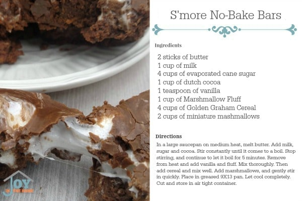 S'more No-Bake Bars Recipe Card - Print the card for your personal cookbook! | www.joyinthehome.com