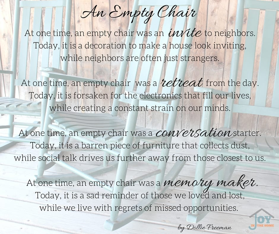 An Empty Chair - A Poem Written by Dollie Freeman | www.joyinthehome.com