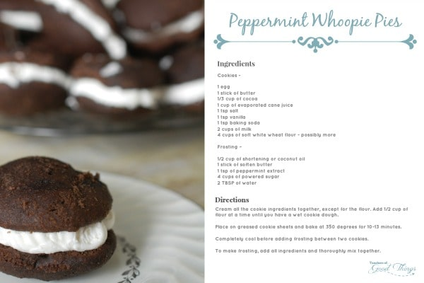 Peppermint Whoopie Pies Printable Recipe Card | www.joyinthehome.com